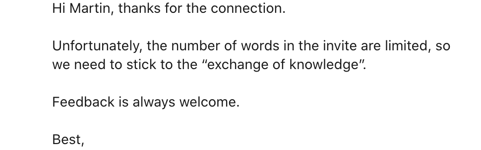 LinkedIn reply
